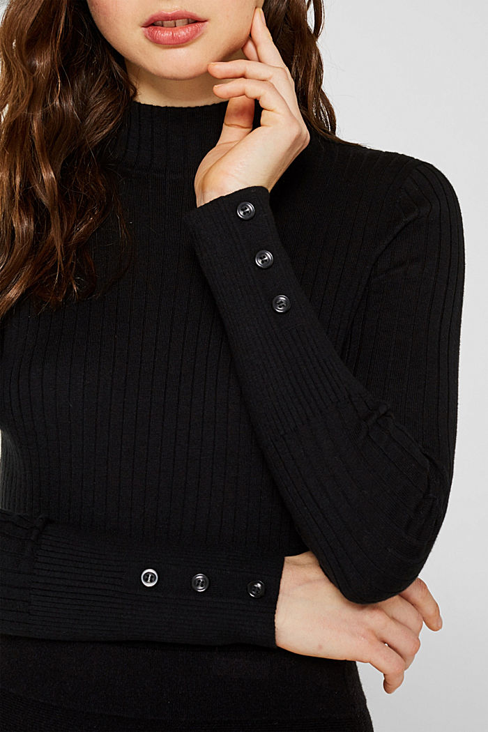 With silk: Ribbed jumper with a stand-up collar, BLACK, detail image number 2