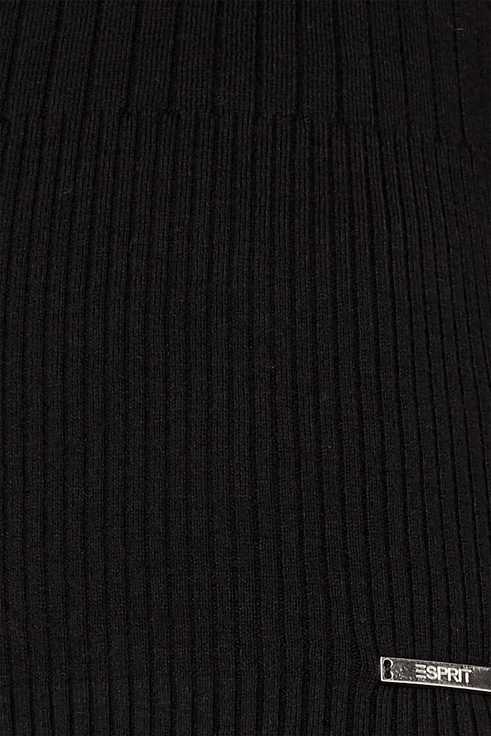 With silk: Ribbed jumper with a stand-up collar, BLACK, detail image number 4