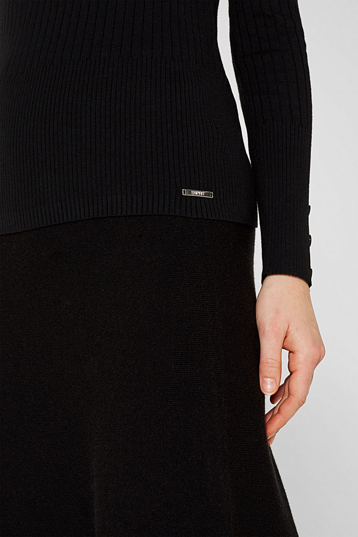With silk: Ribbed jumper with a stand-up collar, BLACK, detail image number 6