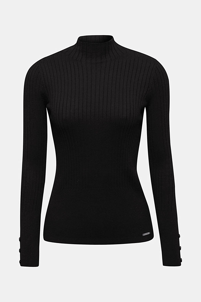 With silk: Ribbed jumper with a stand-up collar, BLACK, detail image number 9