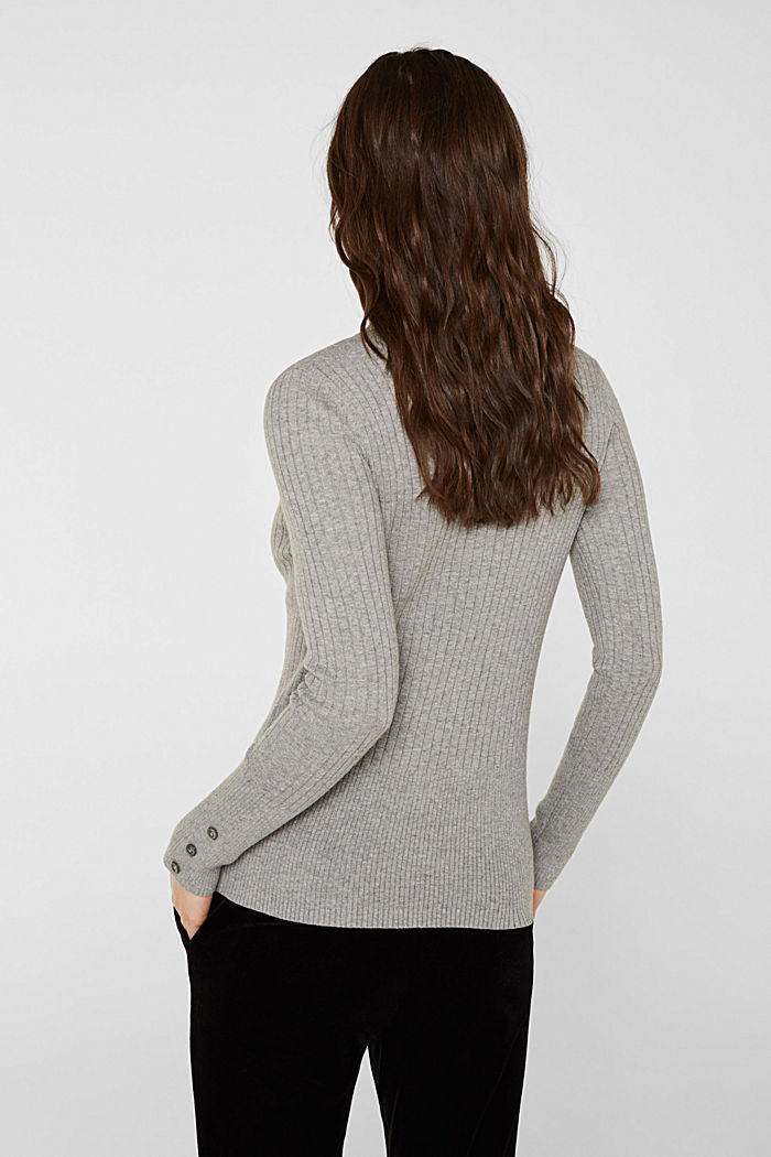 With silk: Ribbed jumper with a stand-up collar, MEDIUM GREY, detail image number 3