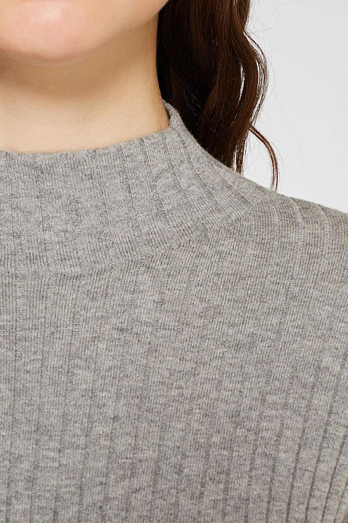 With silk: Ribbed jumper with a stand-up collar, MEDIUM GREY, detail image number 2