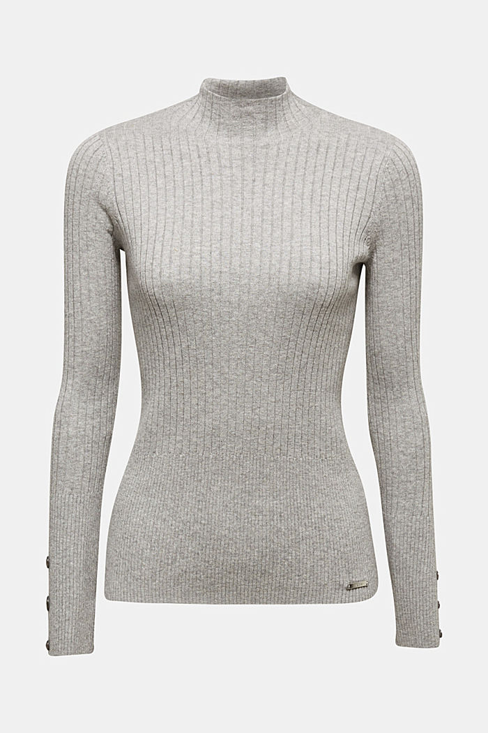 With silk: Ribbed jumper with a stand-up collar, MEDIUM GREY, detail image number 5