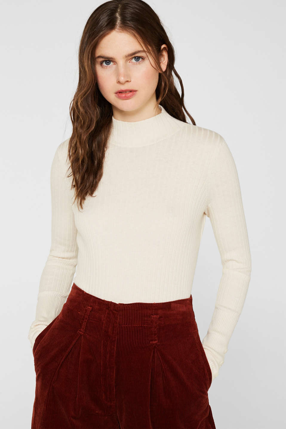 With silk: Ribbed jumper with a stand-up collar, OFF WHITE, detail image number 0