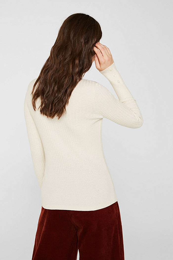 With silk: Ribbed jumper with a stand-up collar, OFF WHITE, detail image number 3