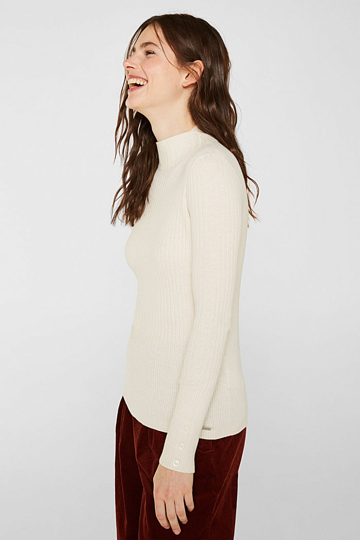 With silk: Ribbed jumper with a stand-up collar, OFF WHITE, detail image number 5