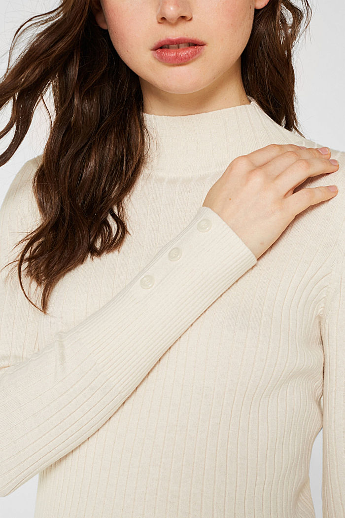 With silk: Ribbed jumper with a stand-up collar, OFF WHITE, detail image number 2