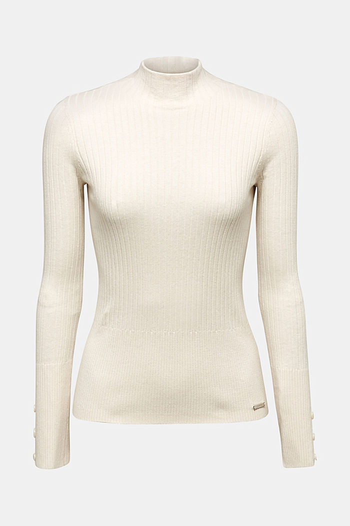 With silk: Ribbed jumper with a stand-up collar, OFF WHITE, overview