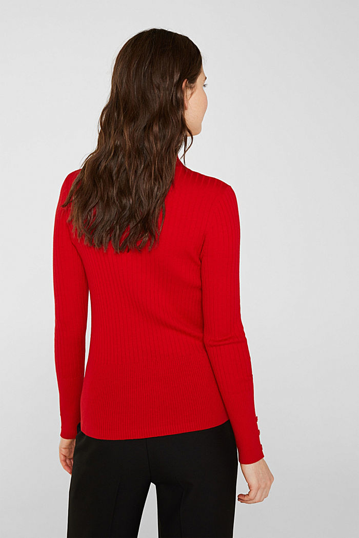 With silk: Ribbed jumper with a stand-up collar, DARK RED, detail image number 3
