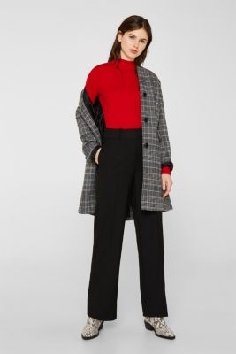 With silk: Ribbed jumper with a stand-up collar, DARK RED, detail