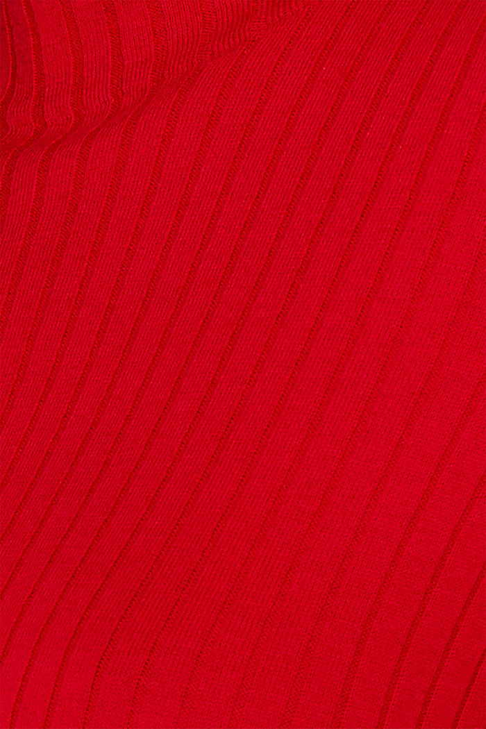 With silk: Ribbed jumper with a stand-up collar, DARK RED, detail image number 4