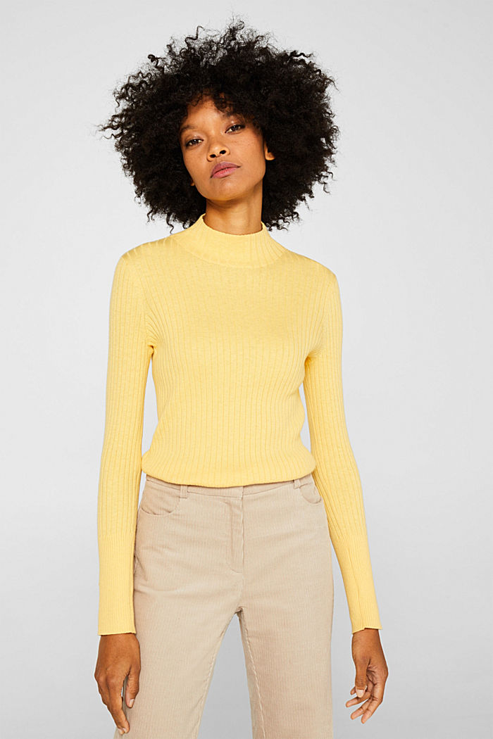 With silk: Ribbed jumper with a stand-up collar, DUSTY YELLOW, detail image number 0