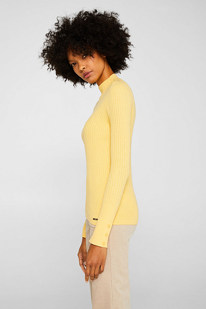 With silk: Ribbed jumper with a stand-up collar, DUSTY YELLOW, detail image number 5