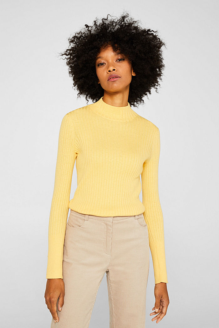 With silk: Ribbed jumper with a stand-up collar, DUSTY YELLOW, detail image number 6