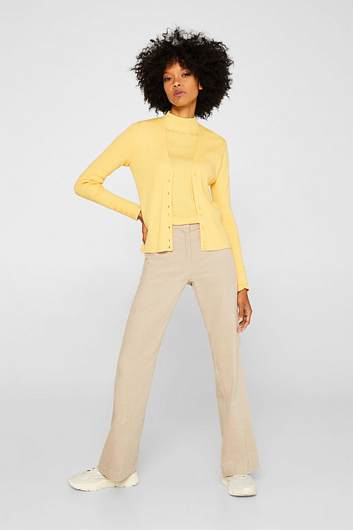 With silk: Ribbed jumper with a stand-up collar, DUSTY YELLOW, detail image number 1