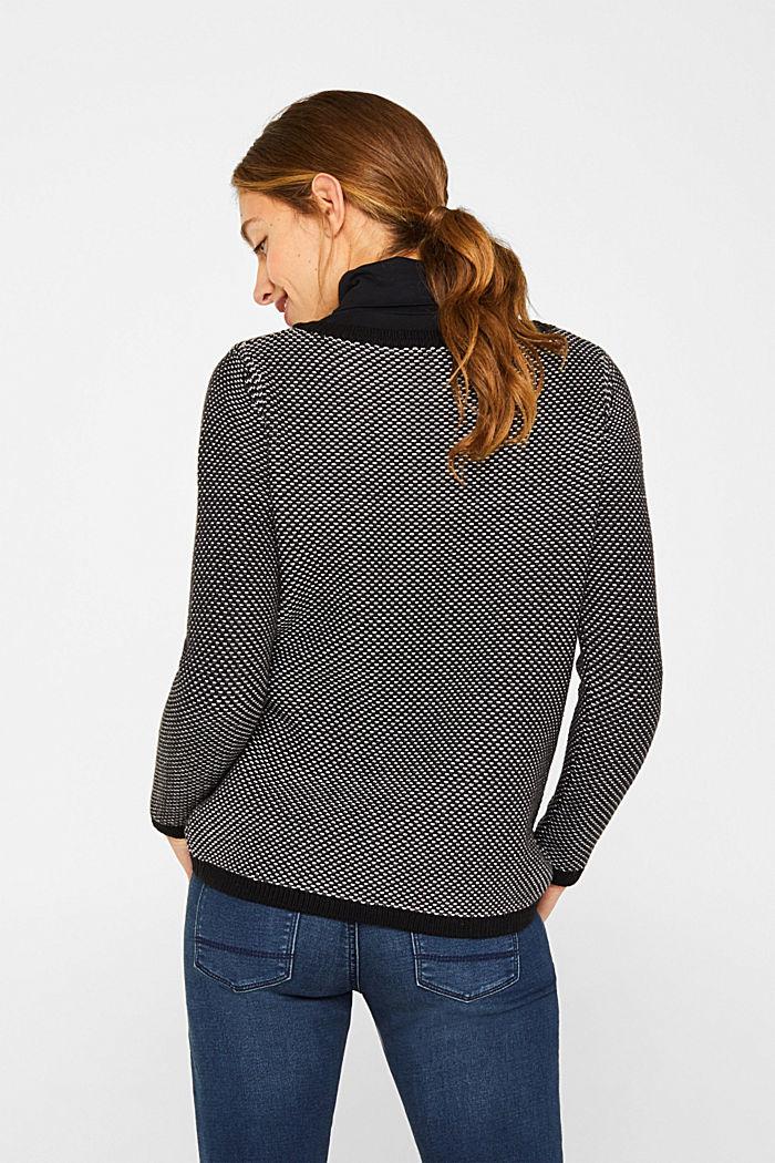 Textured jumper in blended cotton, BLACK, detail image number 3