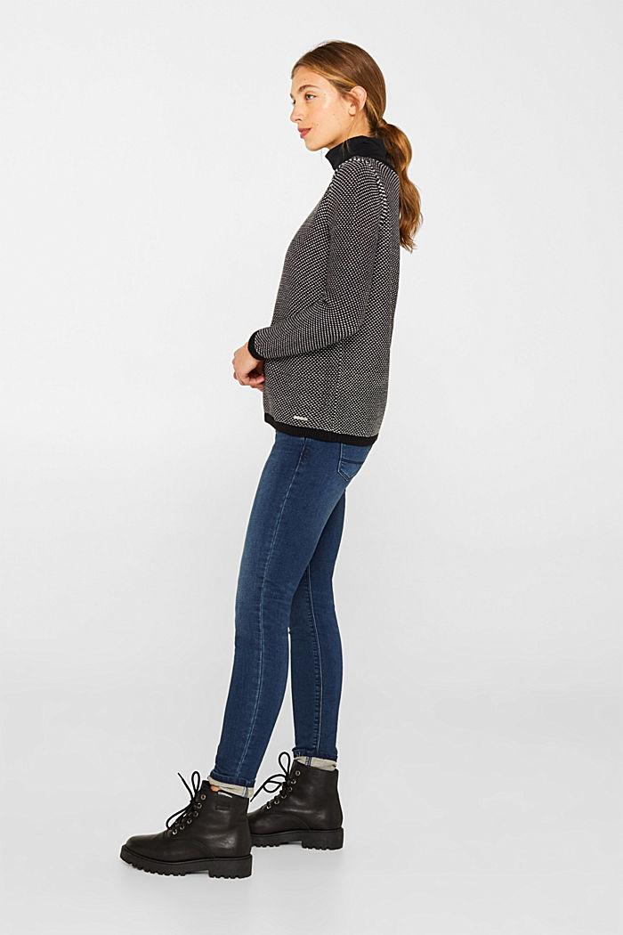 Textured jumper in blended cotton, BLACK, detail image number 5