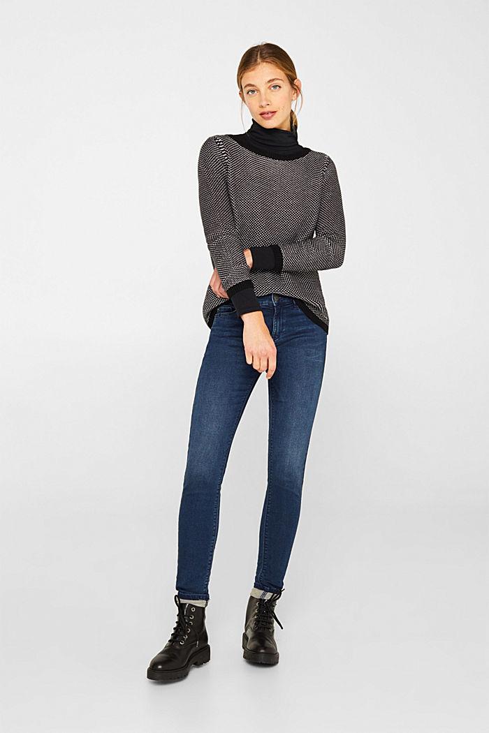 Textured jumper in blended cotton, BLACK, detail image number 1