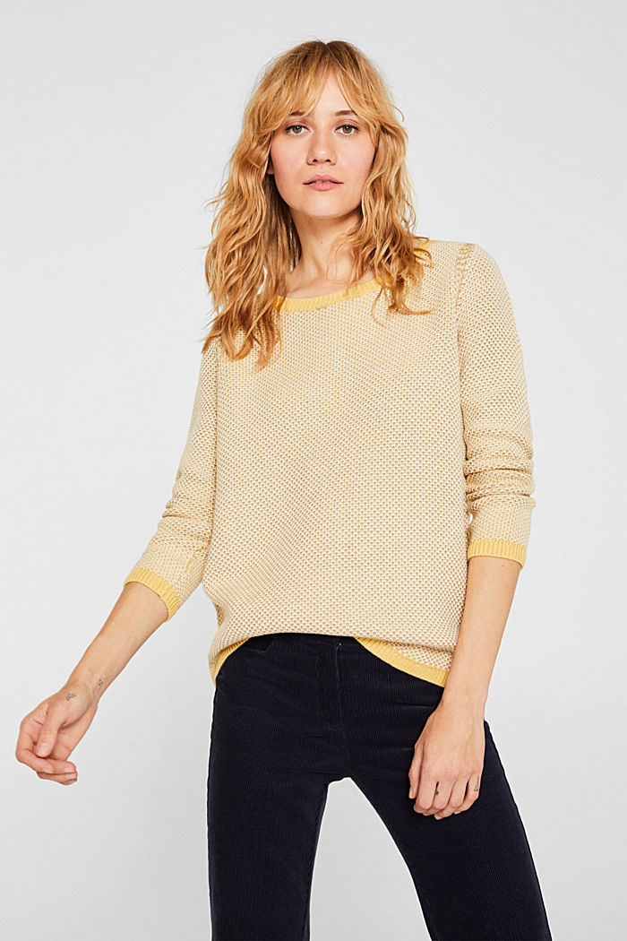 Textured jumper in blended cotton, YELLOW, detail image number 0