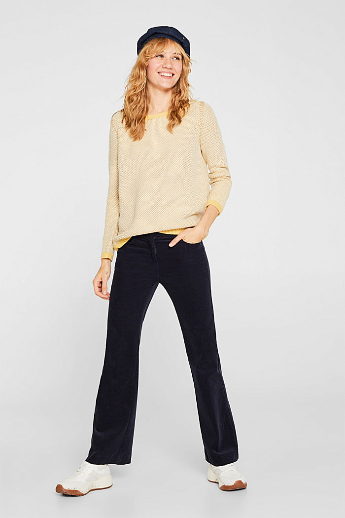 Textured jumper in blended cotton, YELLOW, detail image number 1
