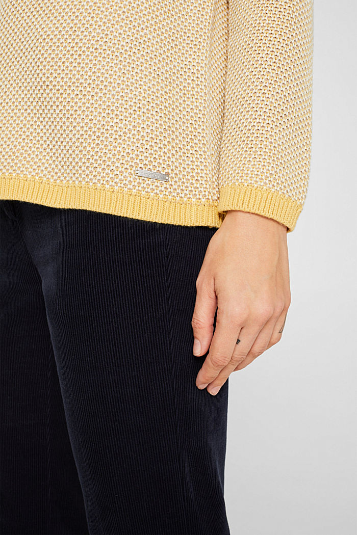 Textured jumper in blended cotton, YELLOW, detail image number 2