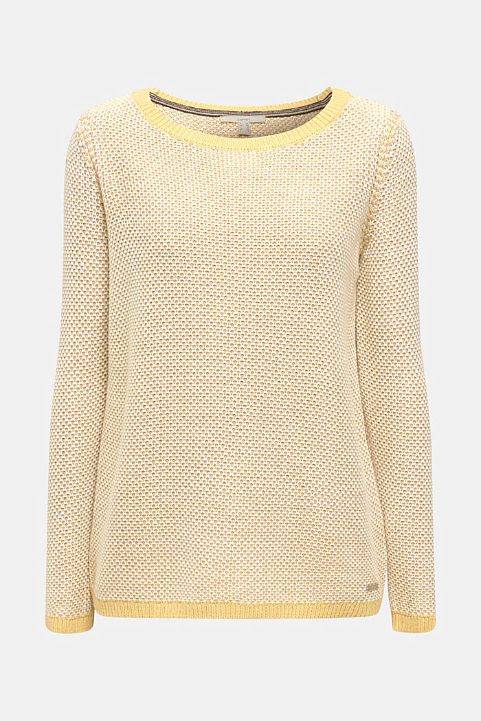 Textured jumper in blended cotton, YELLOW, detail image number 5