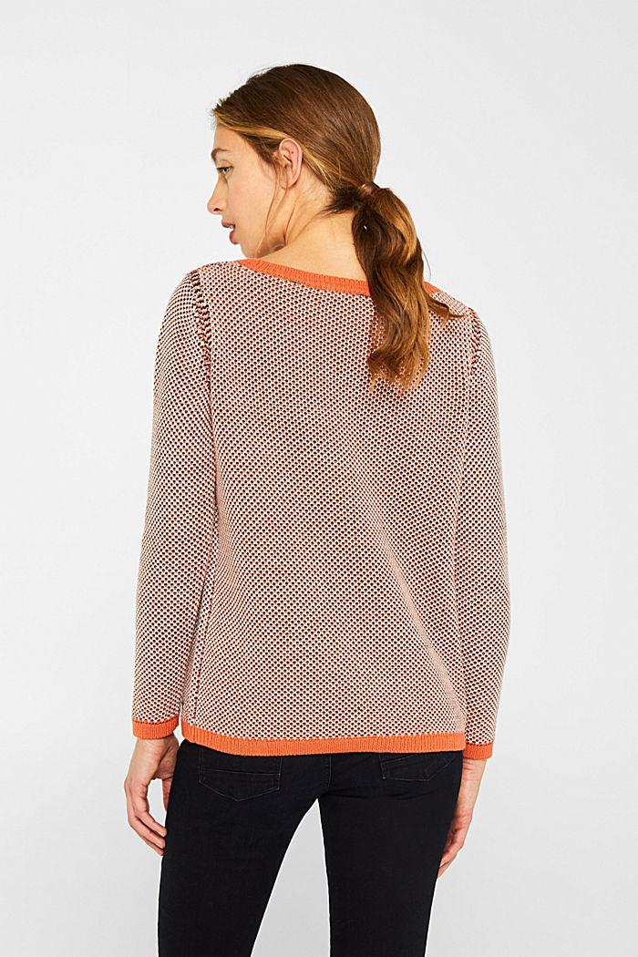 Textured jumper in blended cotton, BURNT ORANGE, detail image number 3