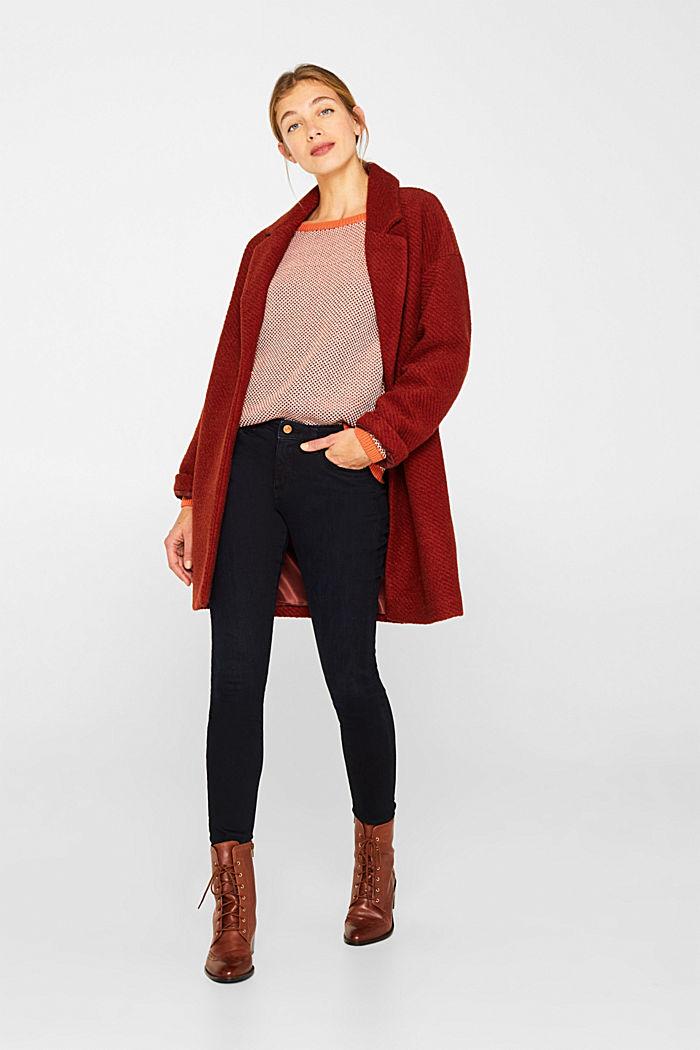 Textured jumper in blended cotton, BURNT ORANGE, detail image number 1
