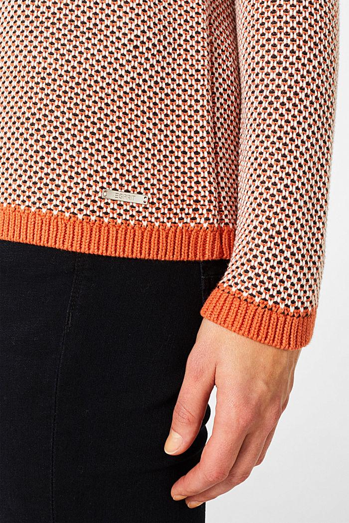 Textured jumper in blended cotton, BURNT ORANGE, detail image number 2