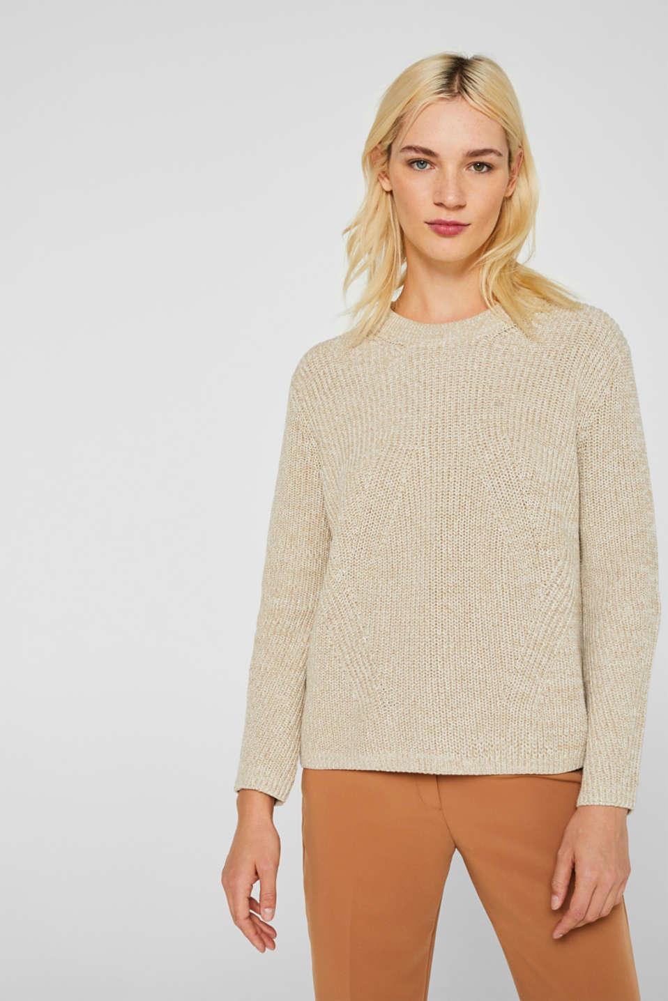 Melange textured jumper, 100% cotton, BEIGE 2, detail image number 0