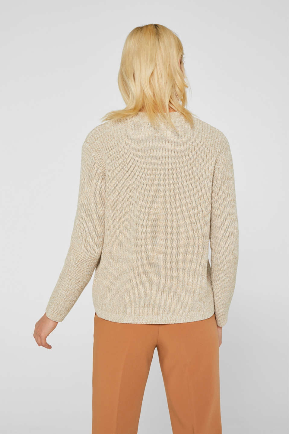 Melange textured jumper, 100% cotton, BEIGE 2, detail image number 3
