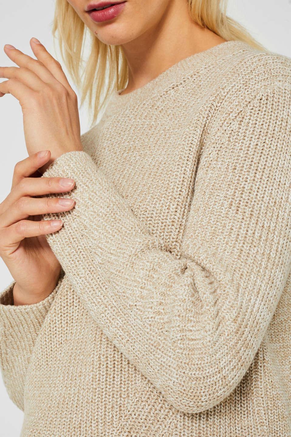 Melange textured jumper, 100% cotton, BEIGE 2, detail image number 2