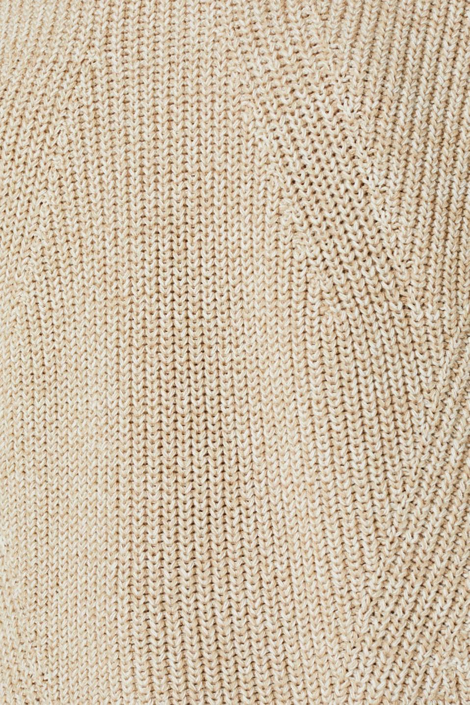 Melange textured jumper, 100% cotton, BEIGE 2, detail image number 4