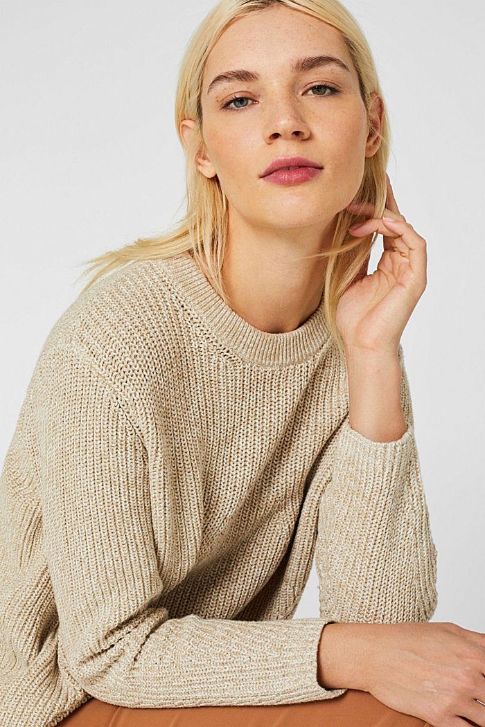 Melange textured jumper, 100% cotton, BEIGE 2, detail image number 5