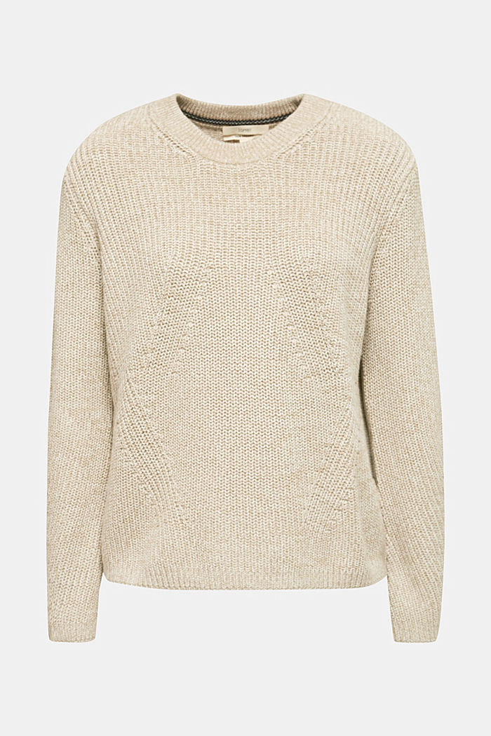 Melange textured jumper, 100% cotton, BEIGE 2, detail image number 6