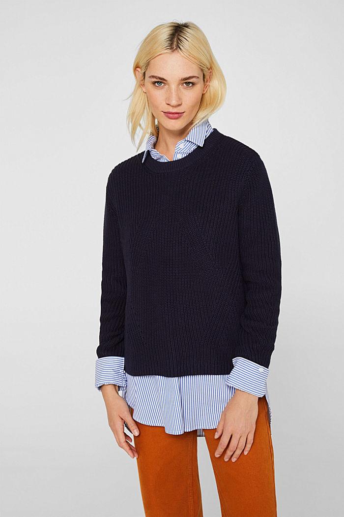 Melierter Struktur-Pullover, 100% Baumwolle, NAVY, detail image number 0