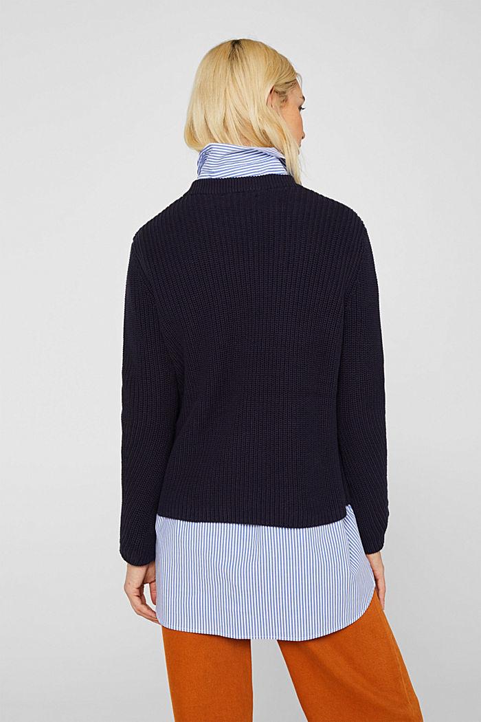 Melierter Struktur-Pullover, 100% Baumwolle, NAVY, detail image number 3