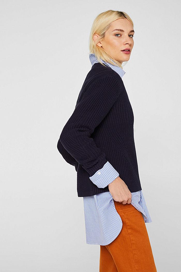 Melierter Struktur-Pullover, 100% Baumwolle