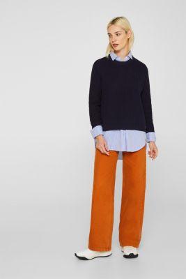 Melange textured jumper, 100% cotton, NAVY, detail
