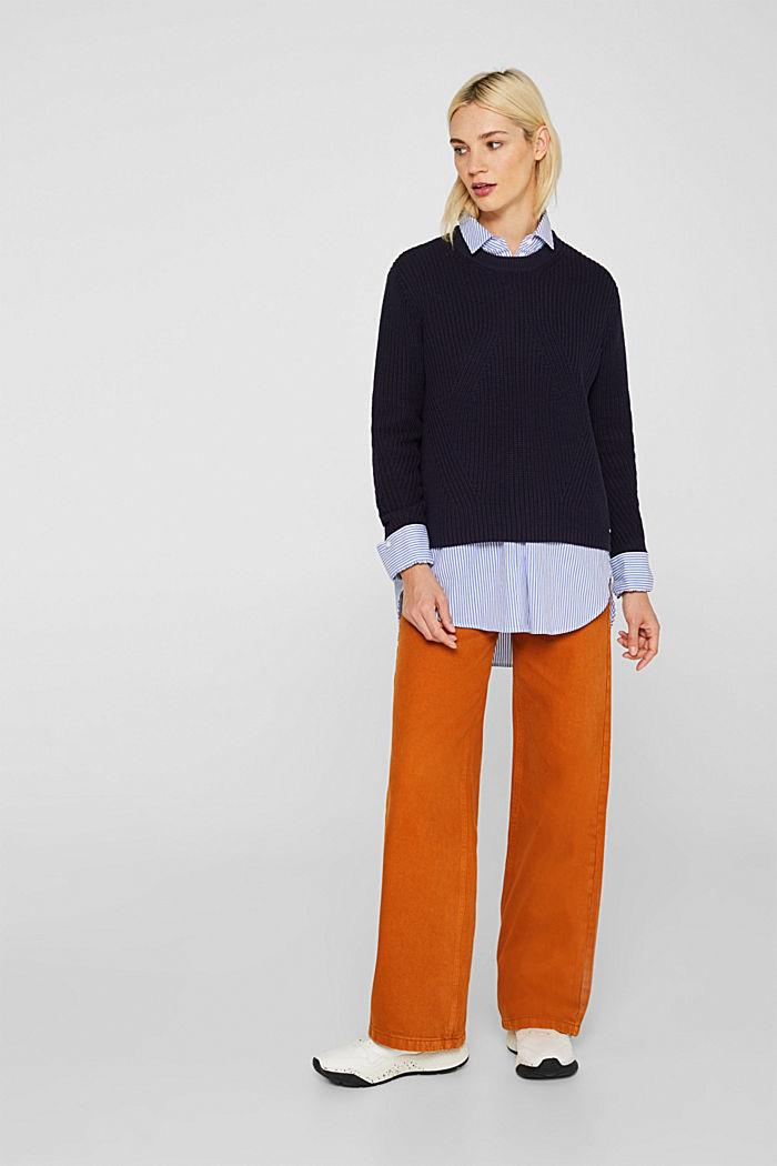 Melierter Struktur-Pullover, 100% Baumwolle, NAVY, detail image number 1