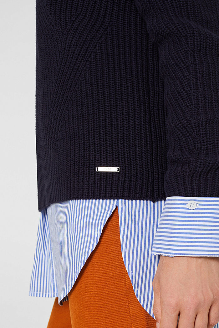 Melierter Struktur-Pullover, 100% Baumwolle, NAVY, detail image number 2