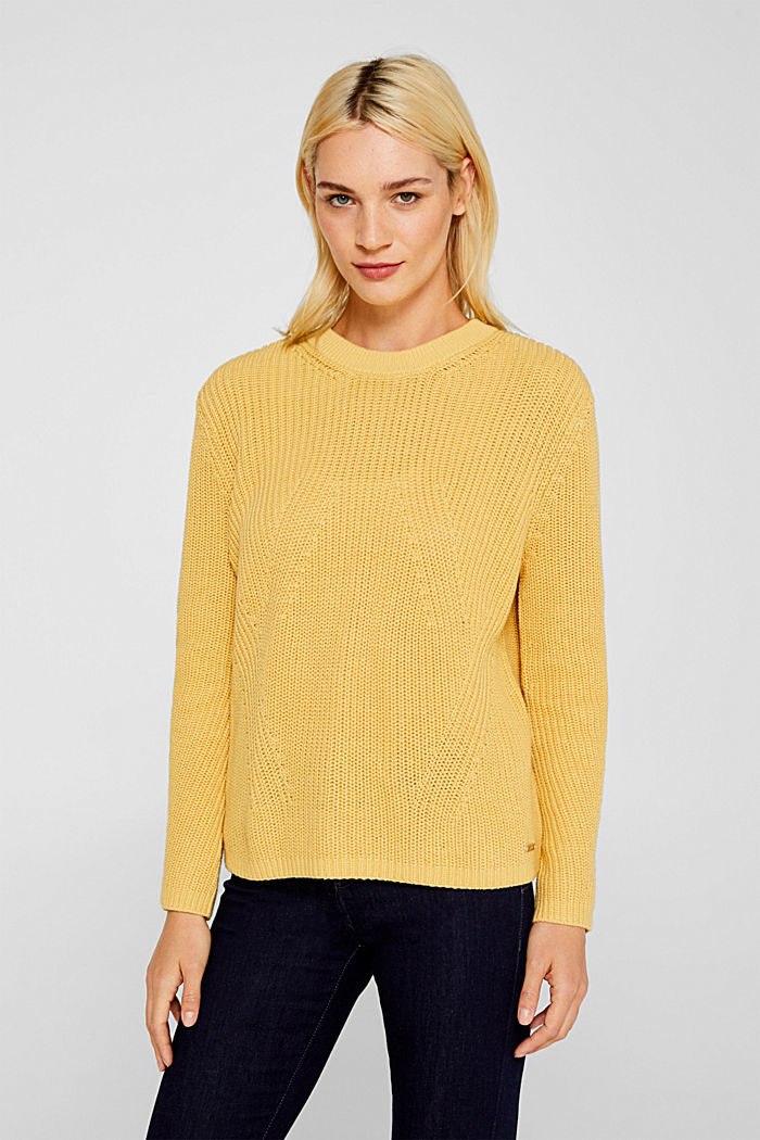 Melange textured jumper, 100% cotton, DUSTY YELLOW, detail image number 0
