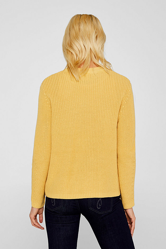 Melange textured jumper, 100% cotton, DUSTY YELLOW, detail image number 3