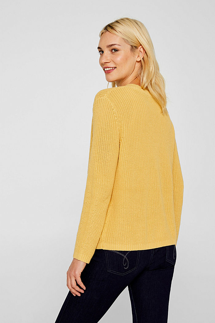 Melange textured jumper, 100% cotton, DUSTY YELLOW, detail image number 5