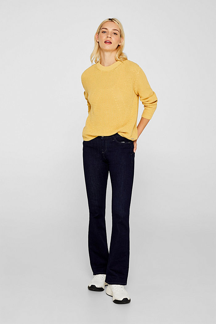 Melange textured jumper, 100% cotton, DUSTY YELLOW, detail image number 6