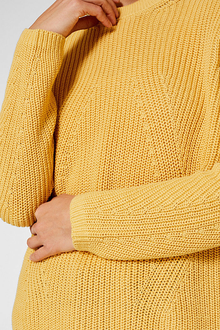 Melange textured jumper, 100% cotton, DUSTY YELLOW, detail image number 2