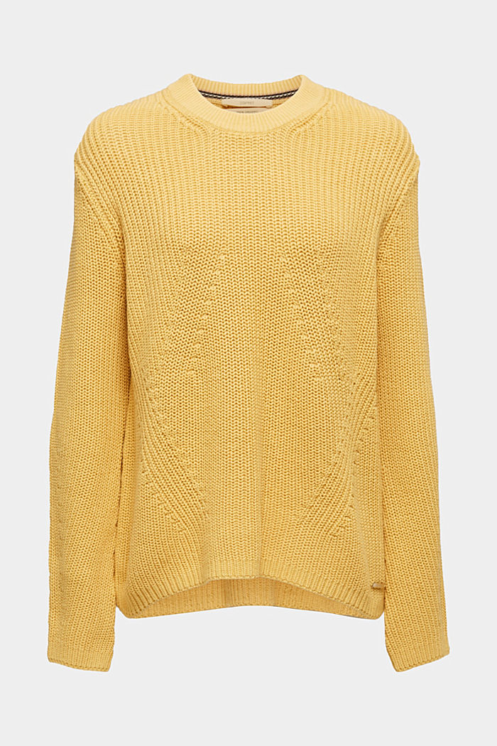 Melange textured jumper, 100% cotton, DUSTY YELLOW, detail image number 7