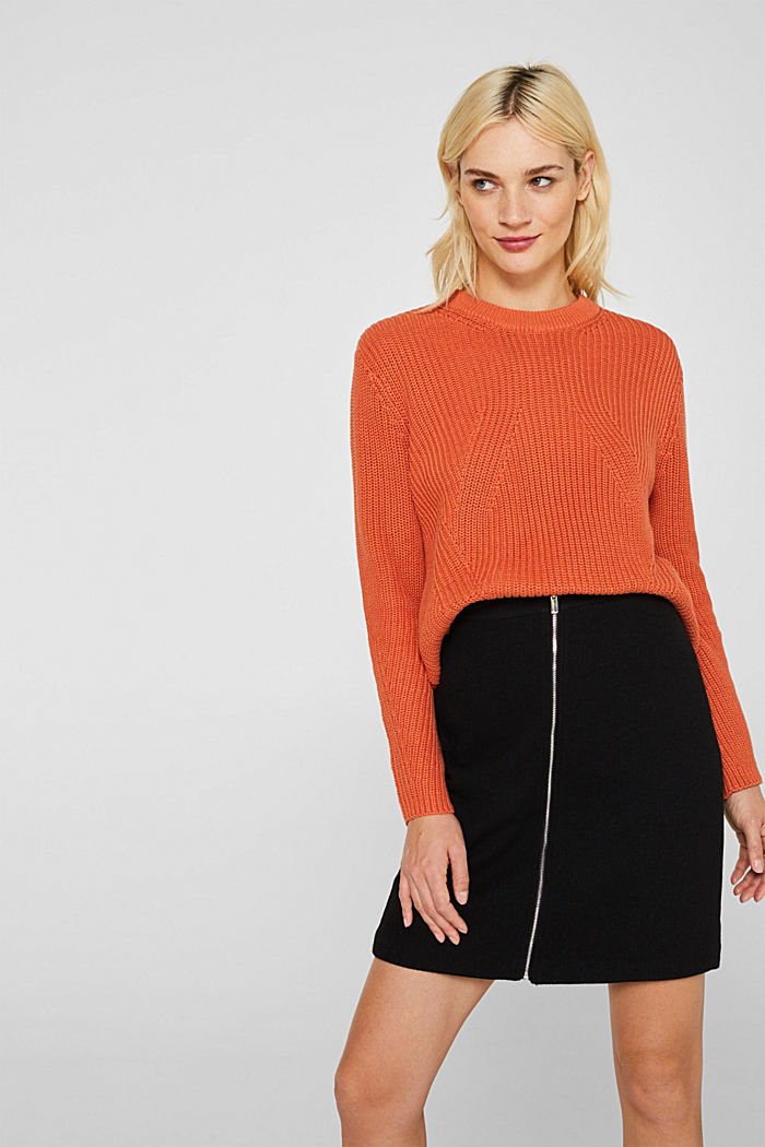 Melange textured jumper, 100% cotton, BURNT ORANGE, detail image number 0