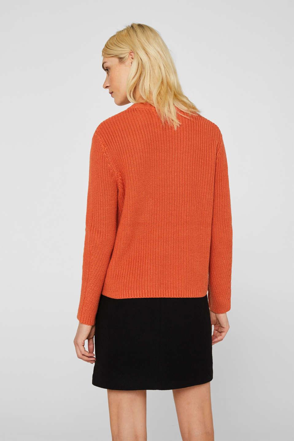 Melange textured jumper, 100% cotton, BURNT ORANGE, detail image number 3