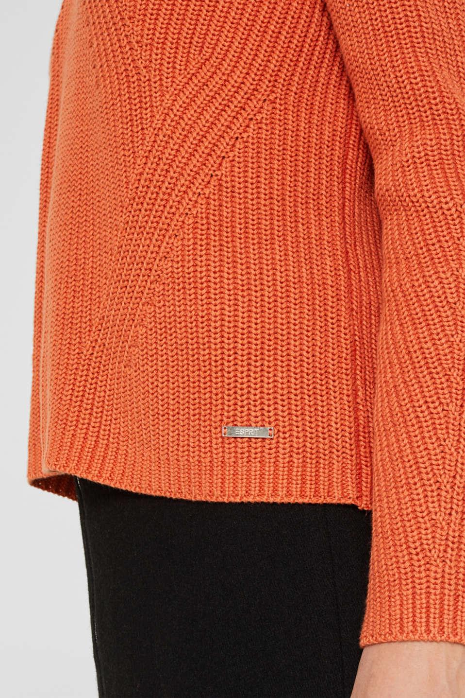 Melange textured jumper, 100% cotton, BURNT ORANGE, detail image number 2